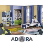 חדר ילדים קומפלט כולל מיטה עם שידה ארון הזזה 2 דלתות שולחן וכוננית דגם ריאל מדריד